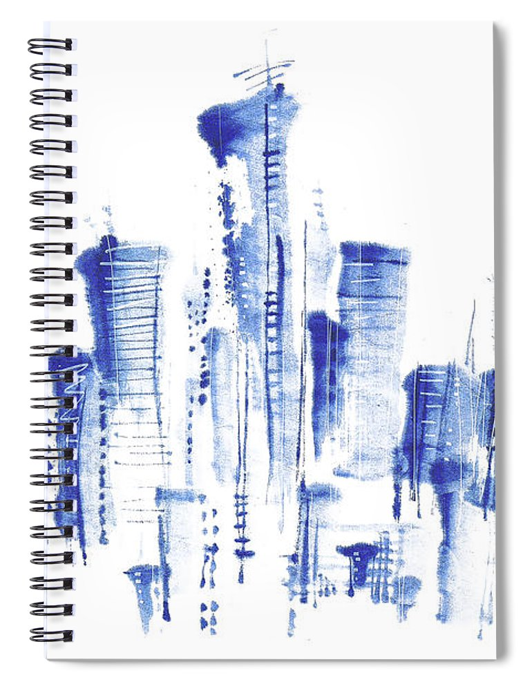White Background Spiral Notebook featuring the digital art Water-and-ink Cityscape by Bji/blue Jean Images