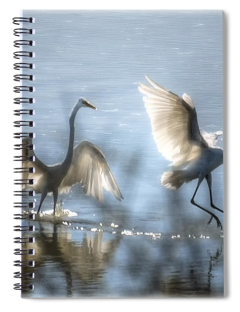 White Egret Spiral Notebook featuring the photograph Water Ballet by Saija Lehtonen