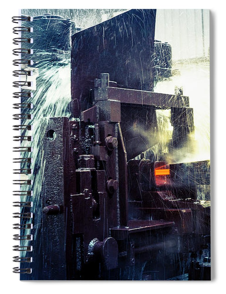 Metalwork Spiral Notebook featuring the photograph Water Cooling Of Roling Mill Line by Chinaface