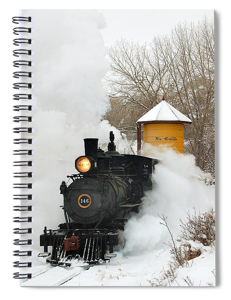 Colorado Railroad Museum Spiral Notebook featuring the photograph Water Tower Behind The Steam by Ken Smith