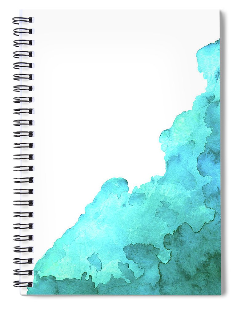 Underwater Spiral Notebook featuring the digital art Watercolor Blue Green Grunge Paint Stain by Color brush