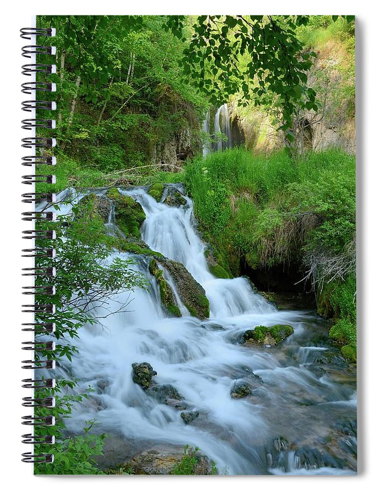 Scenics Spiral Notebook featuring the photograph Waterfall In Spearfish Cayon South by Groveb