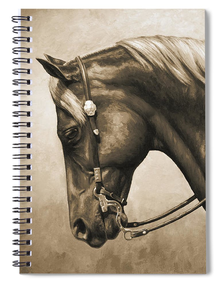 Horse Spiral Notebook featuring the painting Western Horse Painting In Sepia by Crista Forest