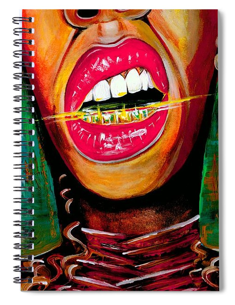 Gold Spiral Notebook featuring the photograph What Yo Name Is by Artist RiA
