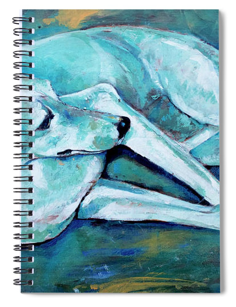 Dog Spiral Notebook featuring the painting Whippet-effects Of Gravity-3 by Derrick Higgins