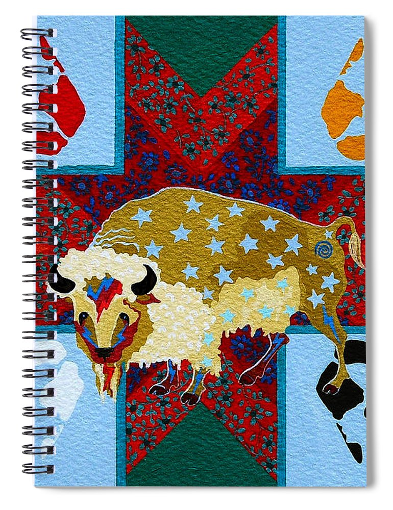 America Spiral Notebook featuring the painting White Buffalo Calf Legend by Chholing Taha