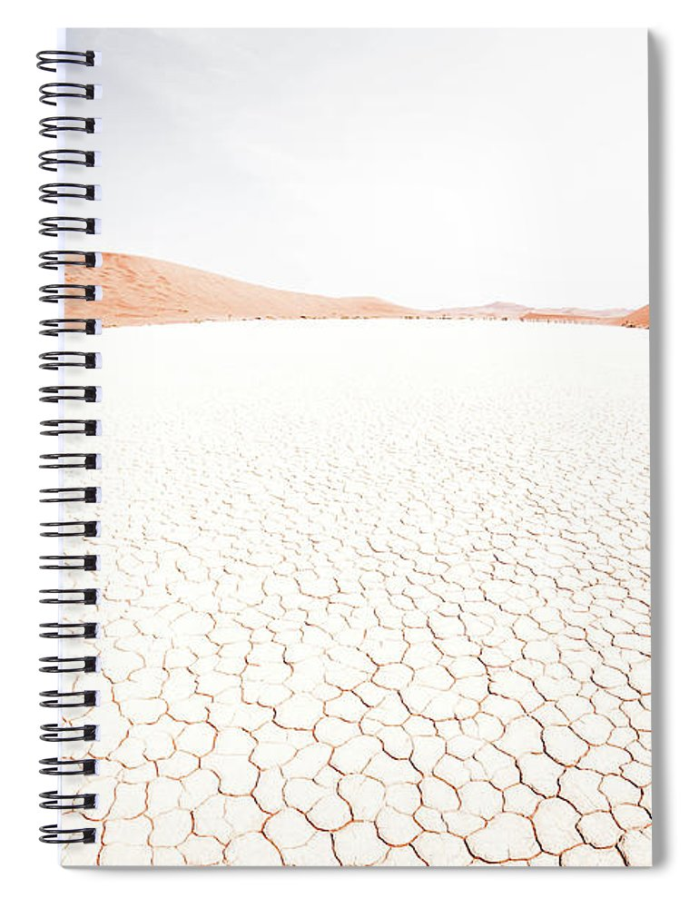 Tranquility Spiral Notebook featuring the photograph White Clay Pan And Dunes by Taken By Chrbhm
