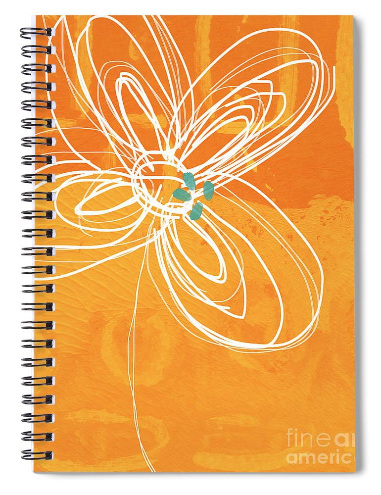 Flower Spiral Notebook featuring the painting White Flower on Orange by Linda Woods