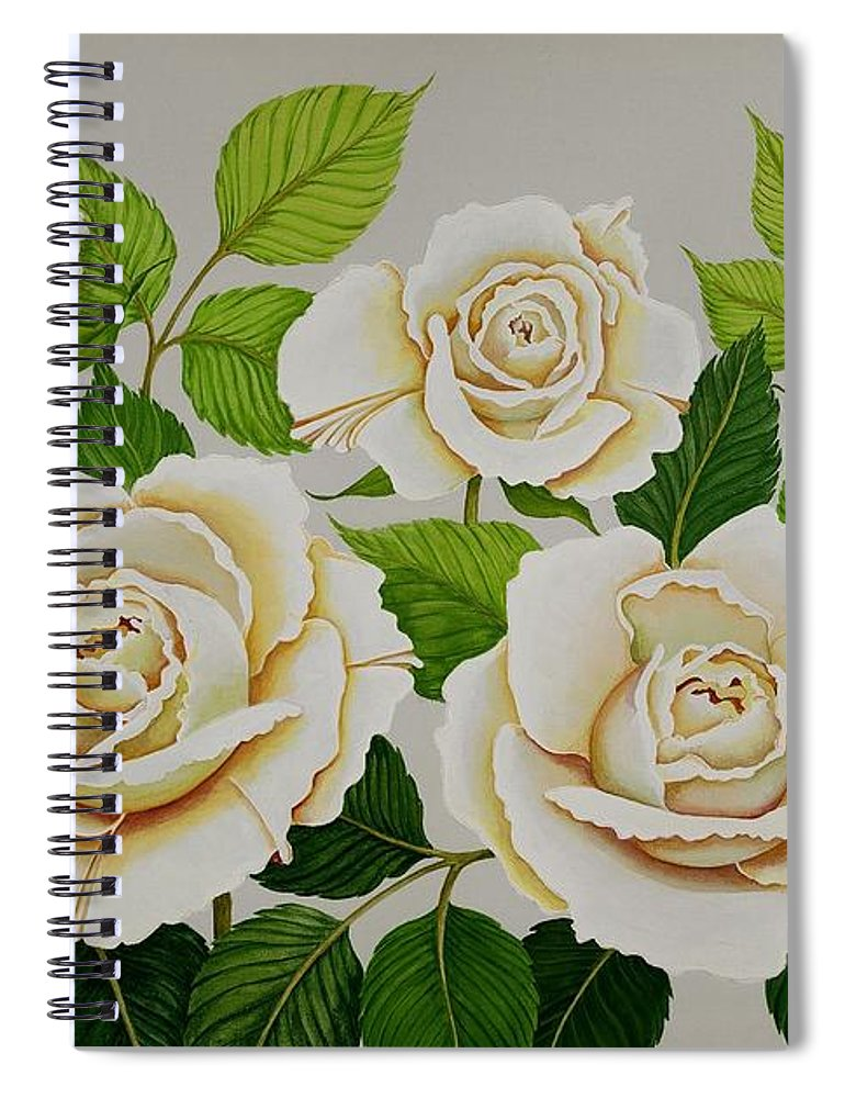 Rose Spiral Notebook featuring the painting White Roses by Carol Sabo