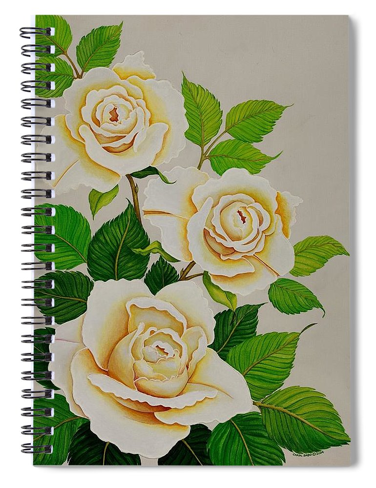 White Roses With Yellow Shading On A White Background. Spiral Notebook featuring the painting White Roses - Vertical by Carol Sabo