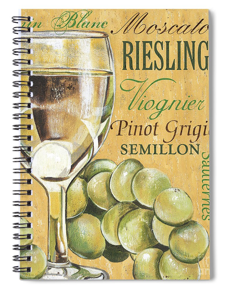 Wine Spiral Notebook featuring the painting White Wine Text by Debbie DeWitt