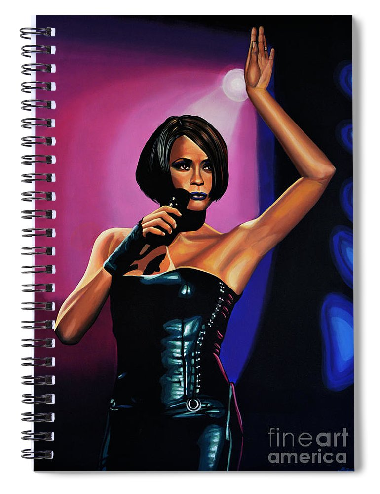 Whitney Houston Spiral Notebook featuring the painting Whitney Houston On Stage by Paul Meijering