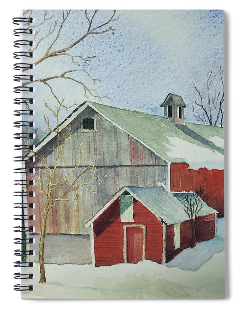 Christmas Card Spiral Notebook featuring the painting Williston Barn by Mary Ellen Mueller Legault