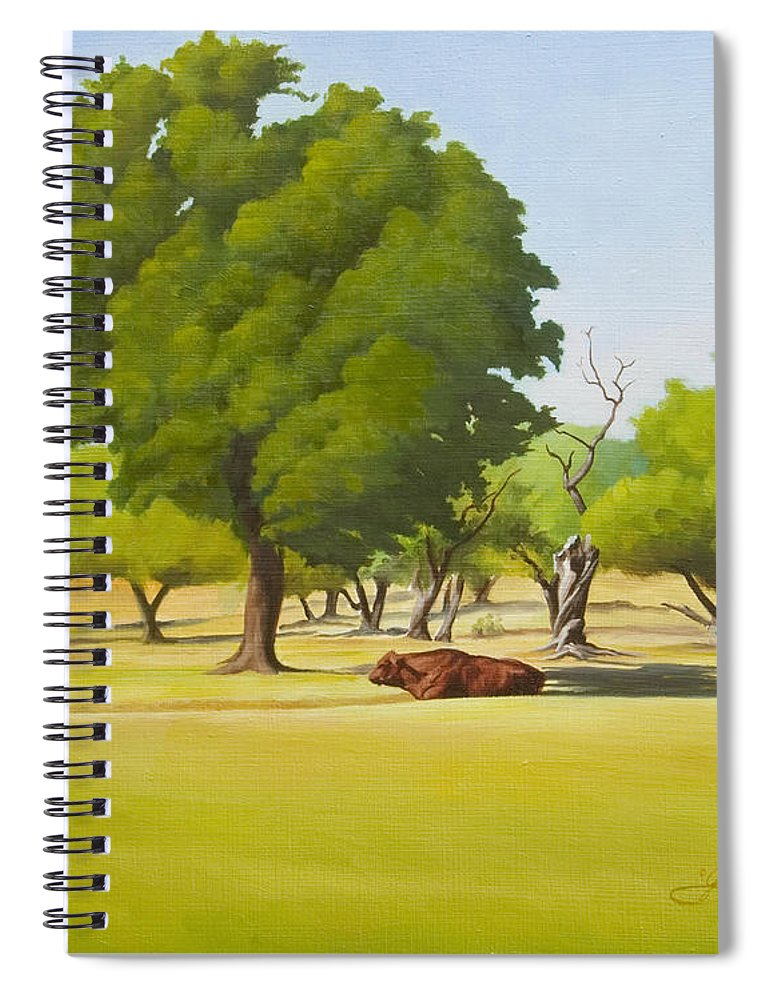 Texas Landscape Spiral Notebook featuring the painting Wimberley Pastoral by Gary Hernandez
