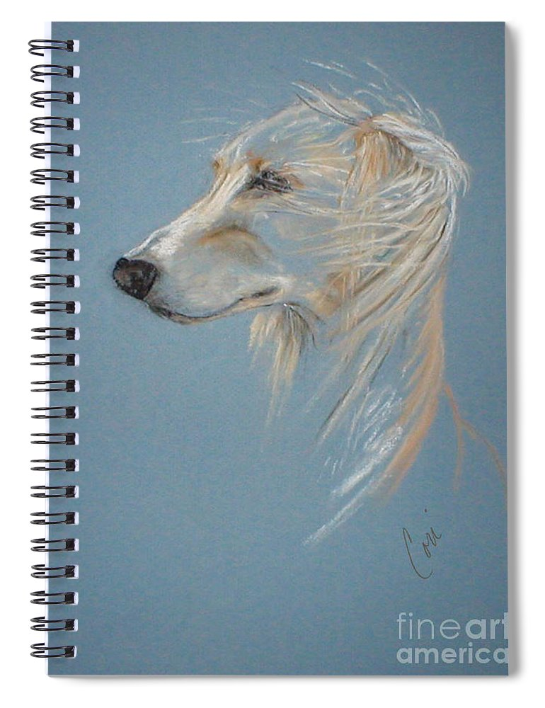 Saluki Spiral Notebook featuring the drawing Windhound by Cori Solomon