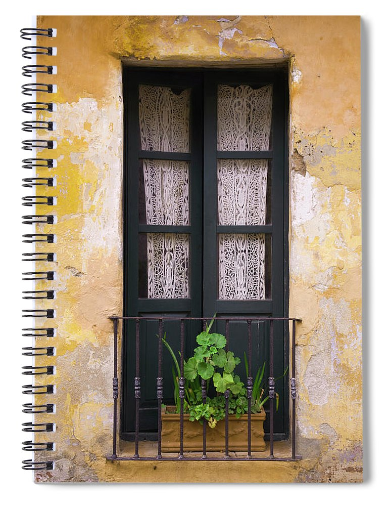 Cement Spiral Notebook featuring the photograph Window And Wall Colonial Style by B-a-c-o