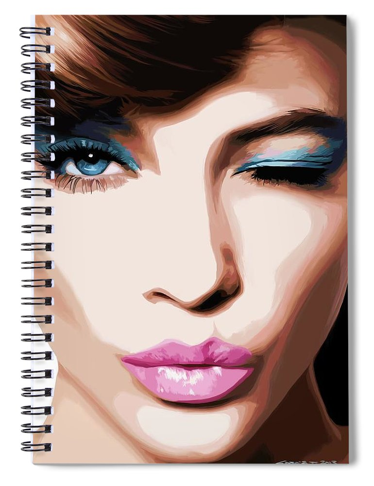 Amazing Girl Spiral Notebook featuring the digital art Wink - Pretty Faces Series by Gabriel T Toro