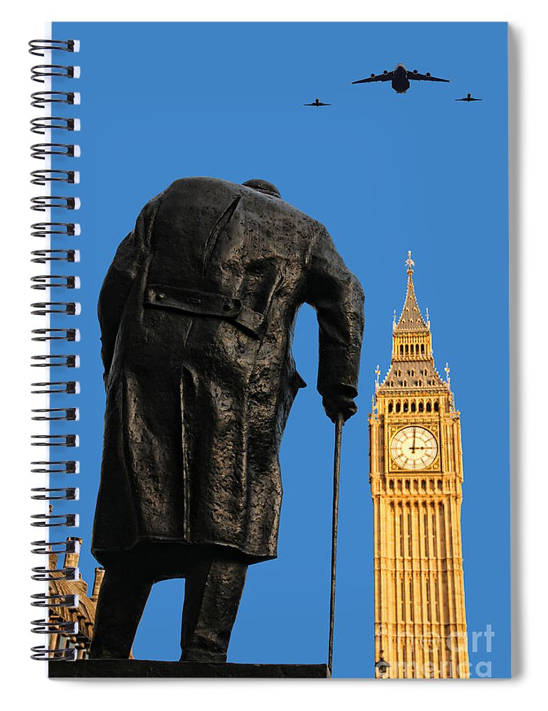 Churchill Spiral Notebook featuring the photograph Winston Churchill by Jasna Buncic