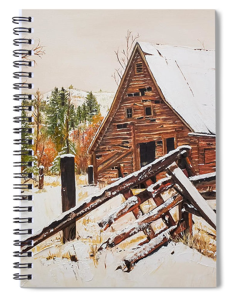 Winter Spiral Notebook featuring the painting Winter - Barn - Snow In Nevada by Jan Dappen