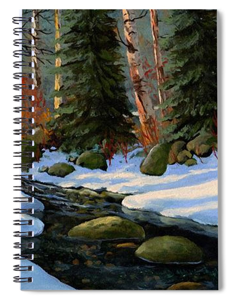 Landscape Spiral Notebook featuring the painting Winter Brook by Frank Wilson