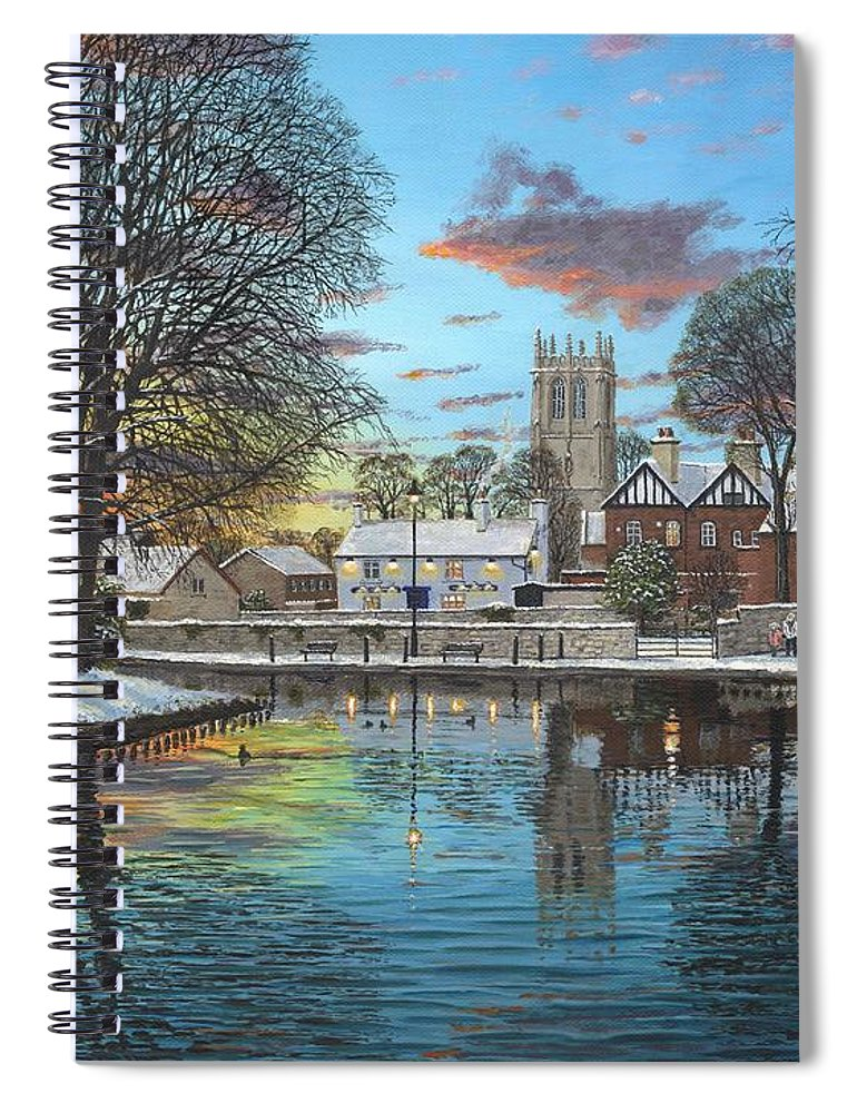 Tickhill Spiral Notebook featuring the painting Winter Evening Tickhill Yorkshire by Richard Harpum