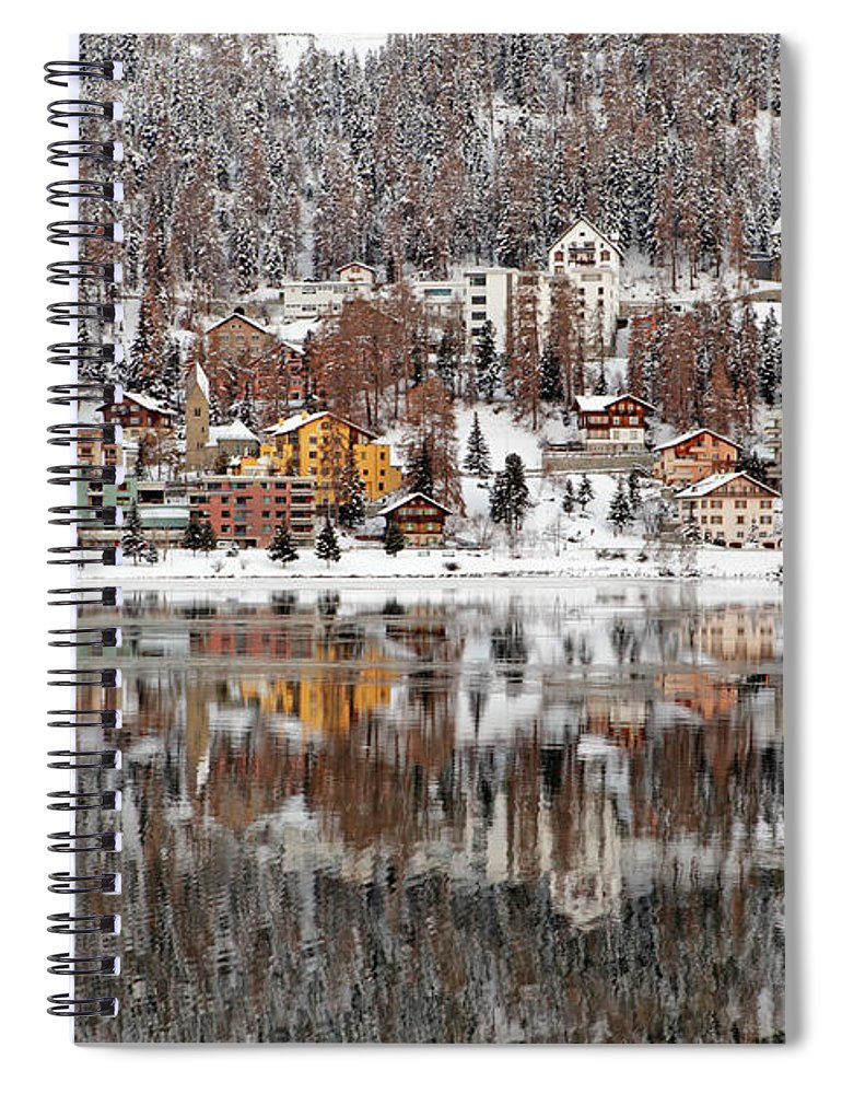 Holiday Spiral Notebook featuring the photograph Winter View Of Saint Moritz by Massimo Pizzotti