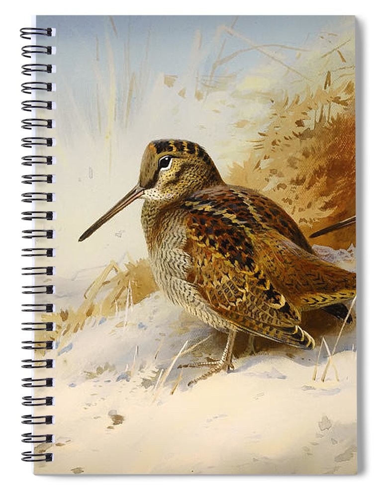 Seasons Spiral Notebook featuring the painting Winter Woodcock by Mountain Dreams