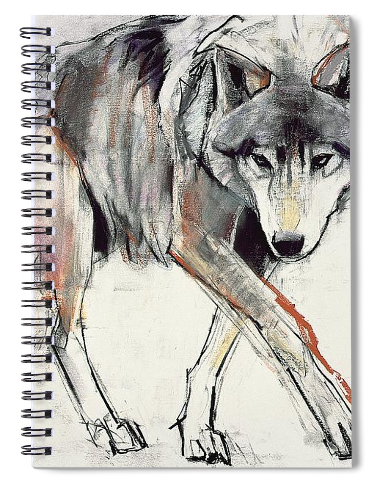 Wolf Spiral Notebook featuring the painting Wolf by Mark Adlington