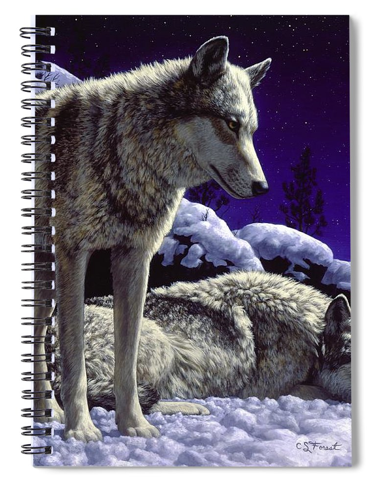 Wolf Spiral Notebook featuring the painting Wolf Painting - Night Watch by Crista Forest