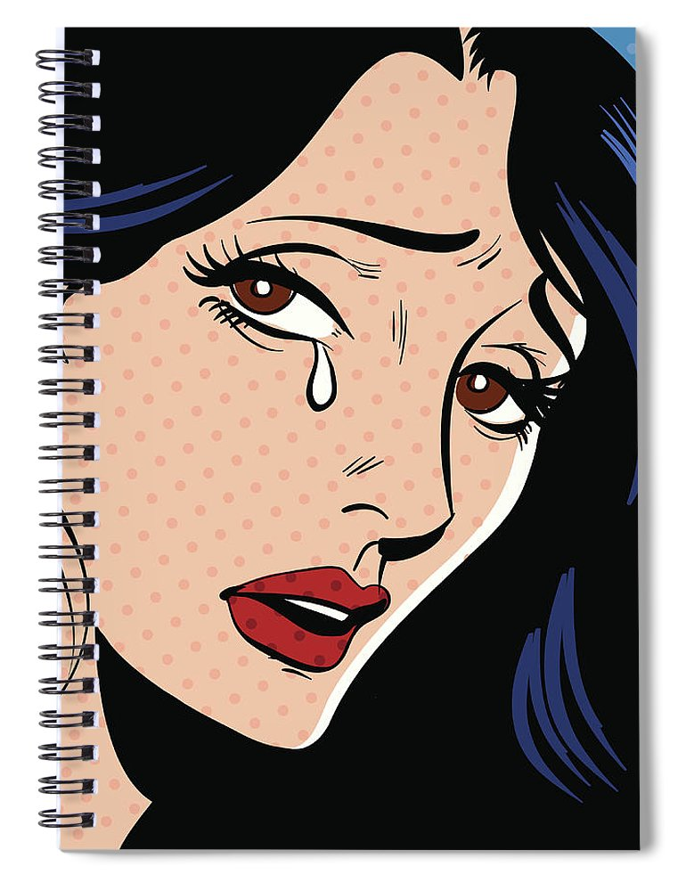 Problems Spiral Notebook featuring the digital art Woman Crying by Mcmillan Digital Art