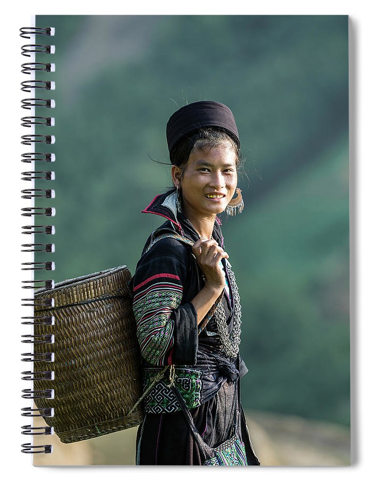 Farm Worker Spiral Notebook featuring the photograph Woman Of Black Hmong Hill Tribe Next To by Martin Puddy