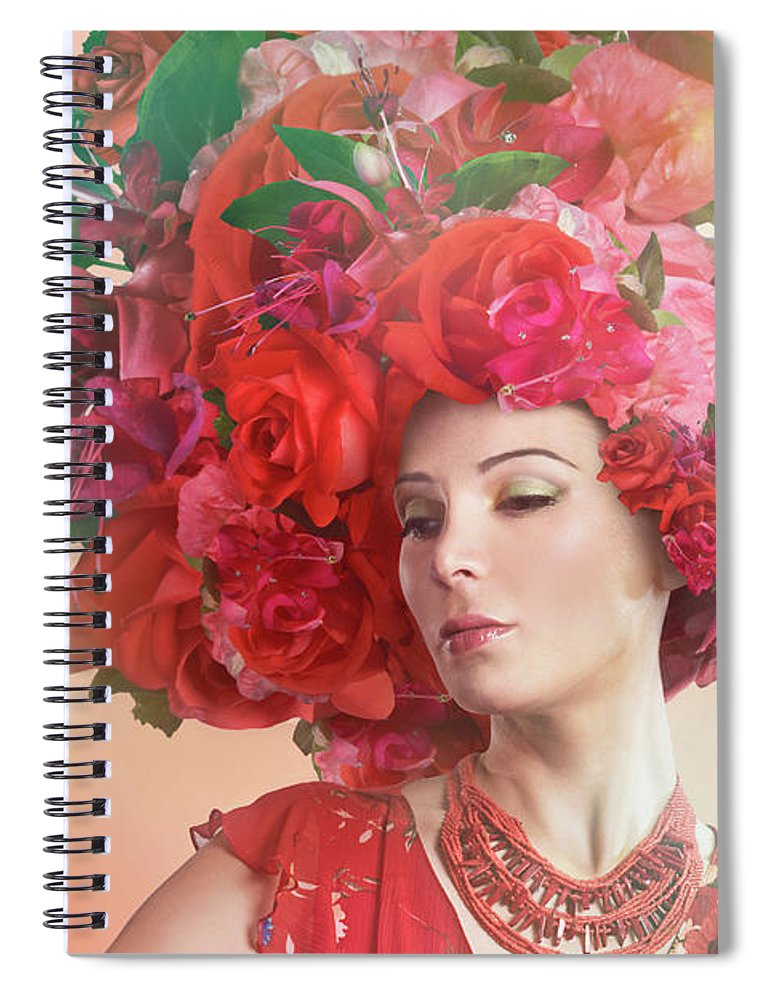 Art Spiral Notebook featuring the photograph Woman Wearing A Big Red Hat Made Of by Paper Boat Creative