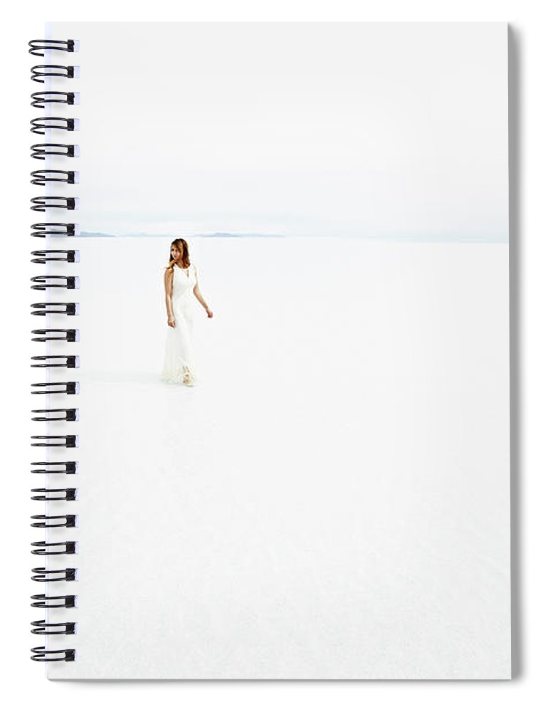 Scenics Spiral Notebook featuring the photograph Woman Wearing Dress Walking Through by Thomas Barwick
