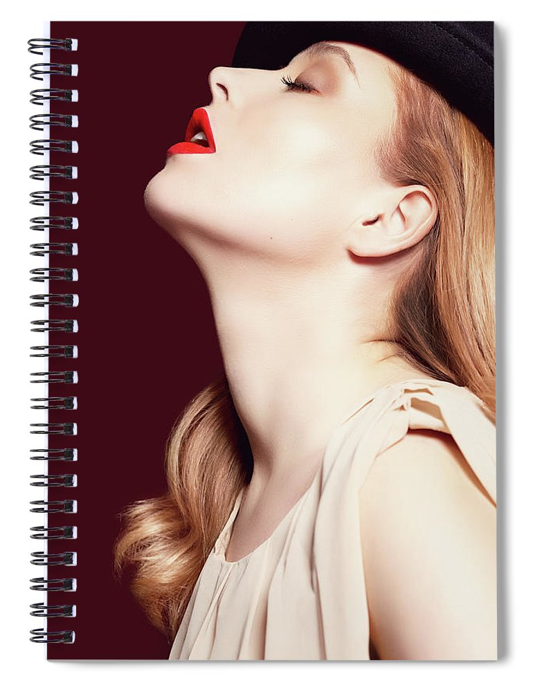 People Spiral Notebook featuring the photograph Woman Wearing Hat by Iconogenic
