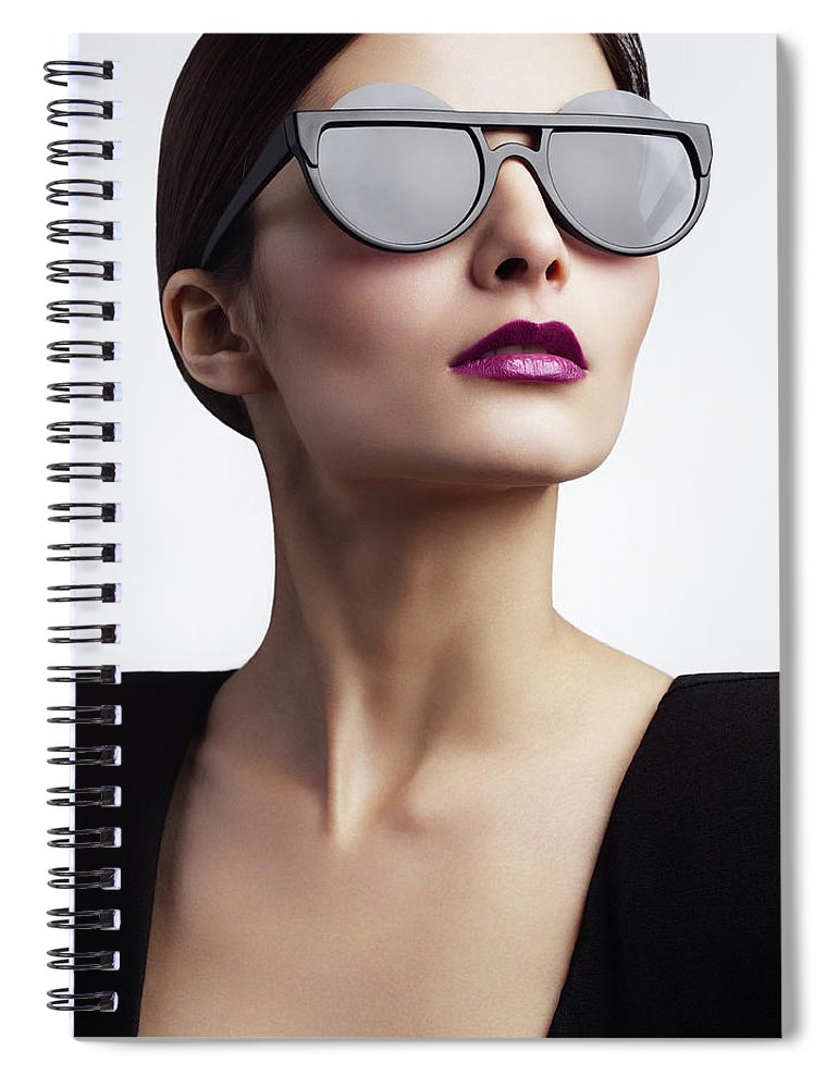 Cool Attitude Spiral Notebook featuring the photograph Woman With Trendy Eyewear by Lambada