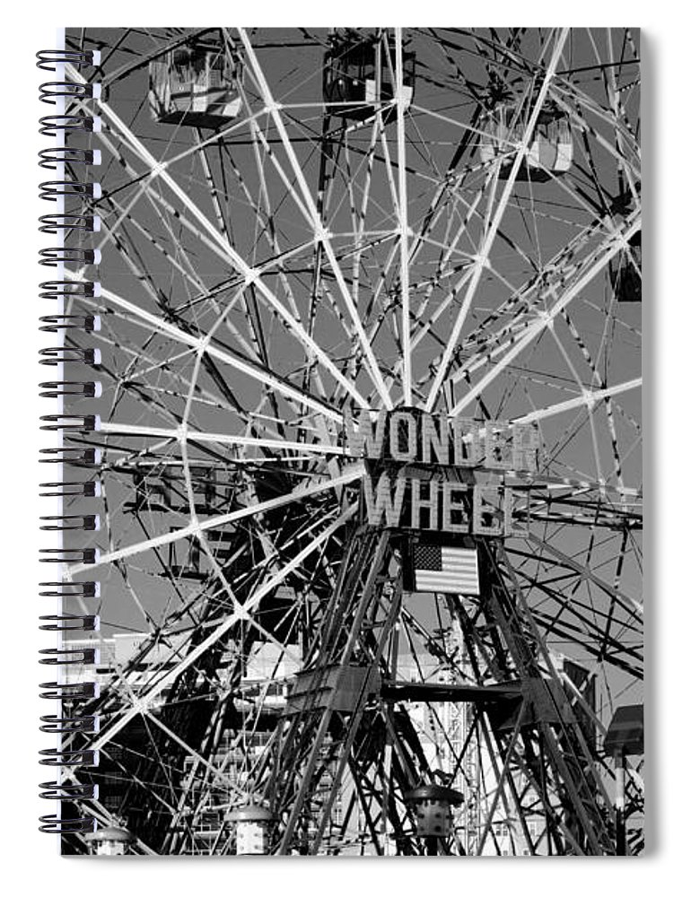Brooklyn Spiral Notebook featuring the photograph Wonder Wheel Of Coney Island In Black And White by Rob Hans