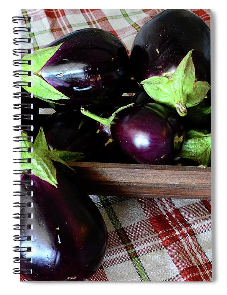 Purple Spiral Notebook featuring the photograph Wooden Basket Of Eggplant by Jessica Lynn Culver