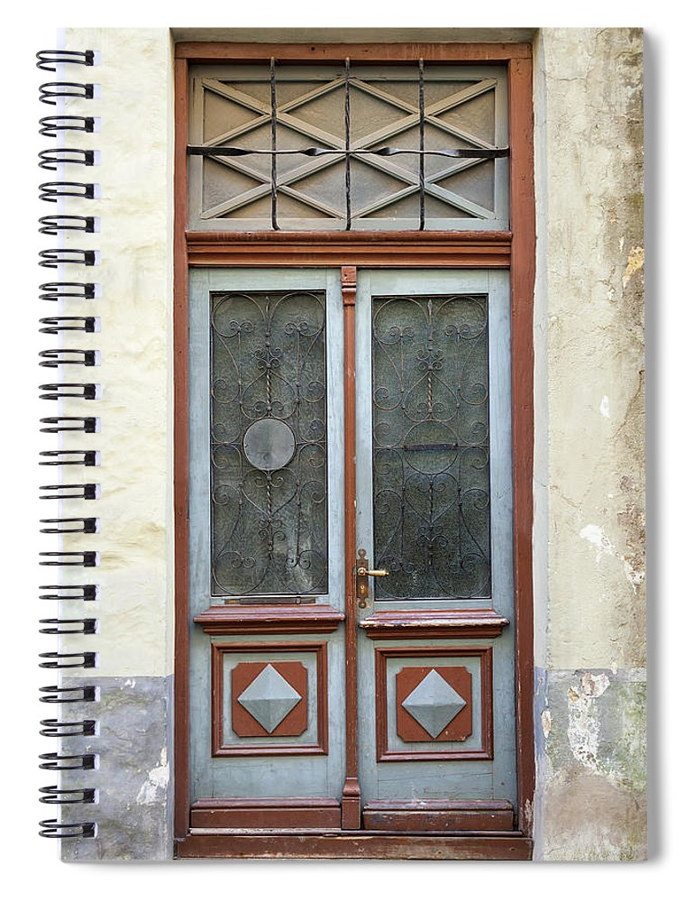 Rectangle Spiral Notebook featuring the photograph Wooden Door With Glass And Decoration by Eugenesergeev