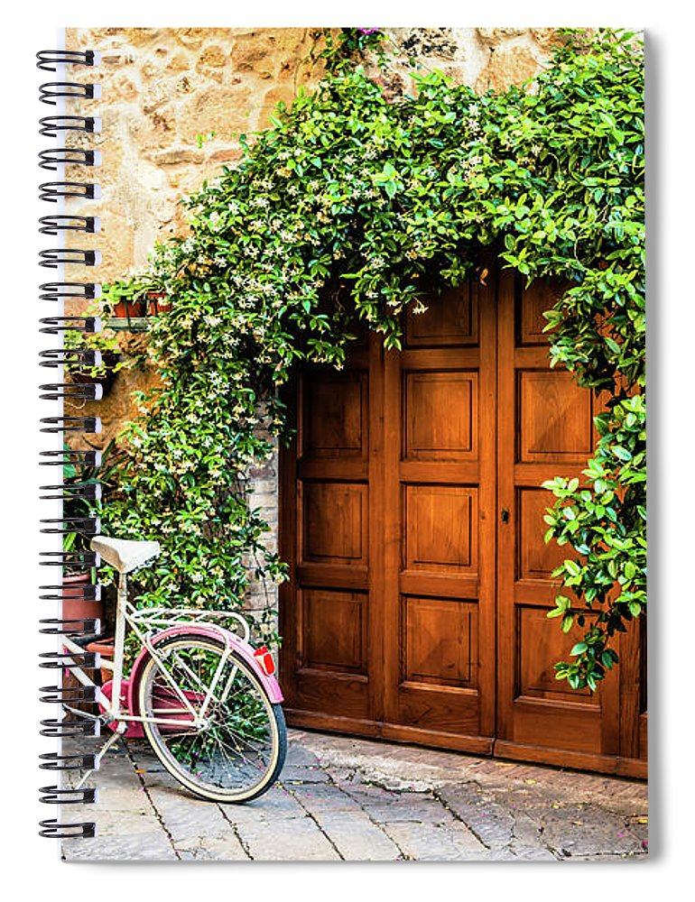 Val D'orcia Spiral Notebook featuring the photograph Wooden Gate With Plants In An Ancient by Giorgiomagini