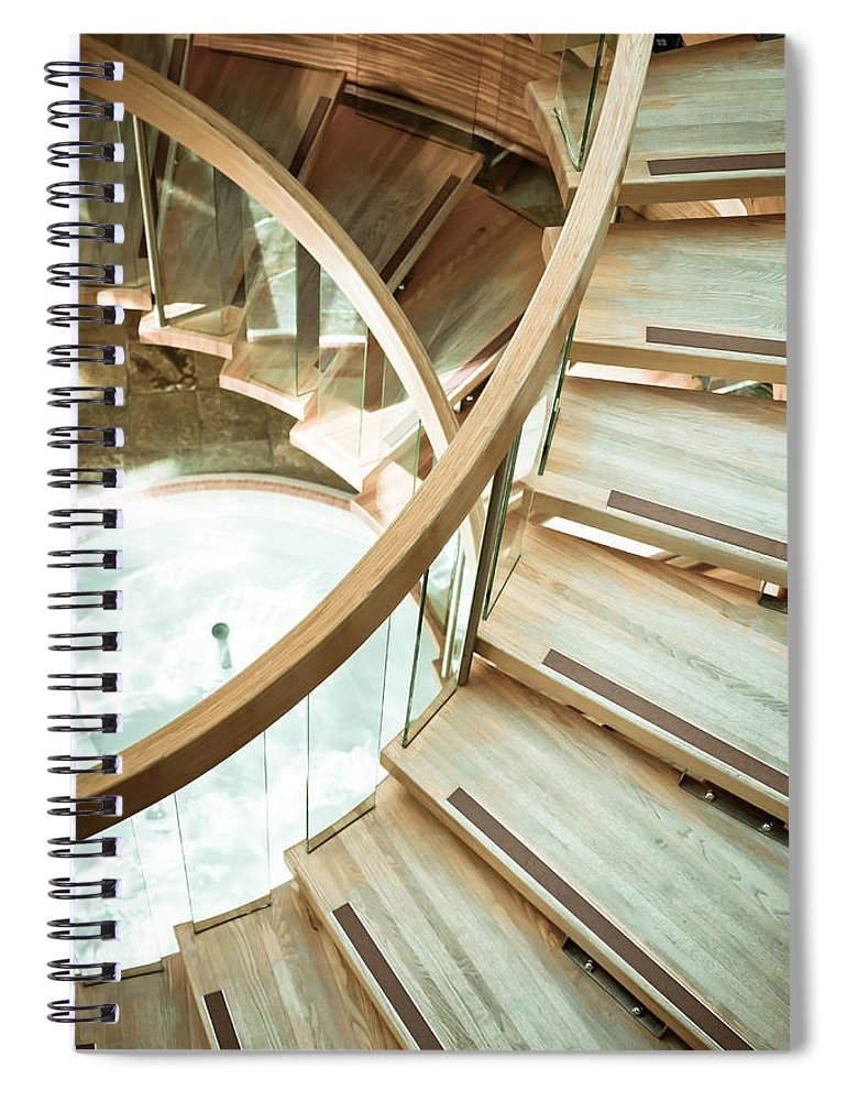 Achievement Spiral Notebook featuring the photograph Wooden Staircase by Tom Gowanlock