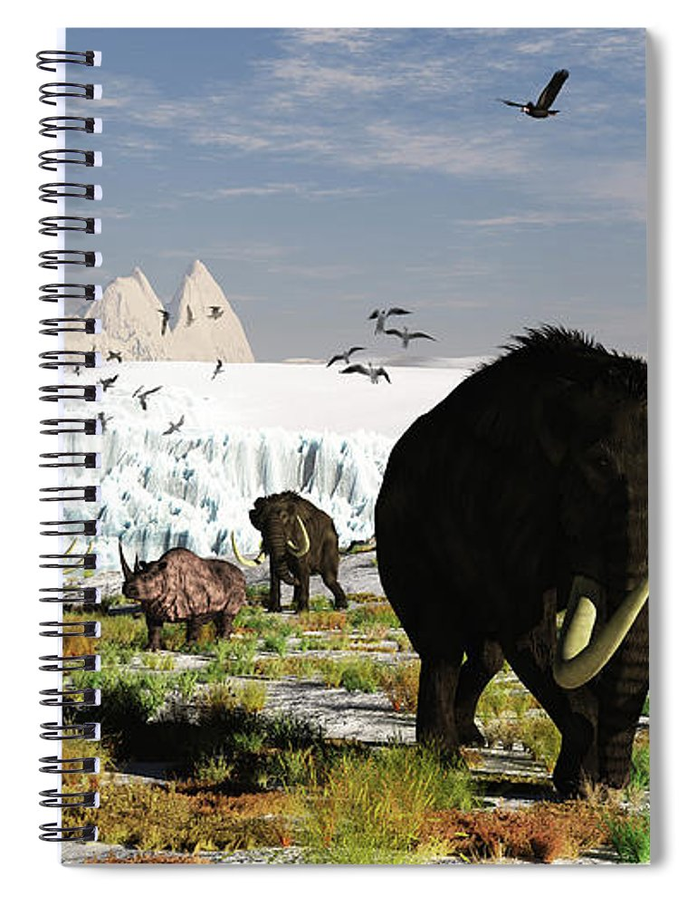 Prehistoric Era Spiral Notebook featuring the digital art Woolly Mammoths And Woolly Rhinos In A by Arthur Dorety/stocktrek Images