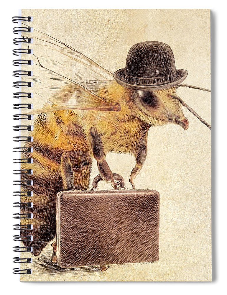 Bee Spiral Notebook featuring the drawing Worker Bee by Eric Fan
