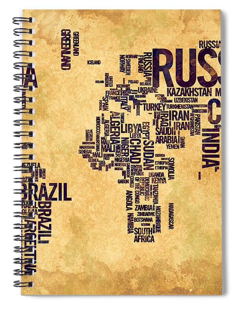 World Map Spiral Notebook featuring the painting World Map Typography 6 Watercolor Painting by Georgeta Blanaru
