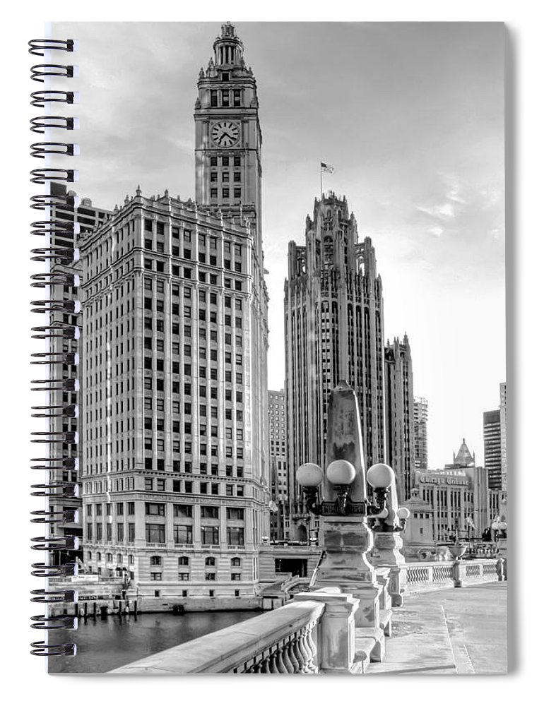 Architecture Spiral Notebook featuring the photograph Wrigley And Tribune by Scott Norris