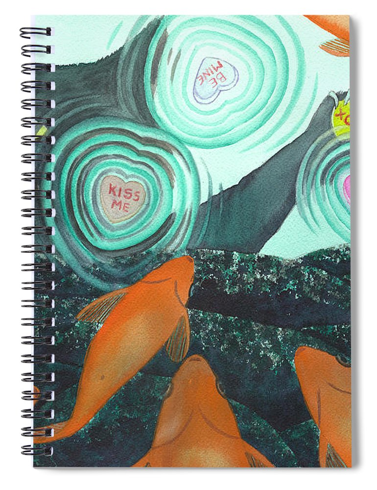 Cat Spiral Notebook featuring the painting XOX by Catherine G McElroy