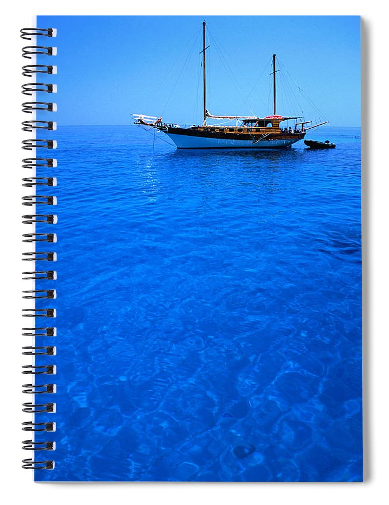 Freight Transportation Spiral Notebook featuring the photograph Yacht Anchored In The Spectacular by Dallas Stribley