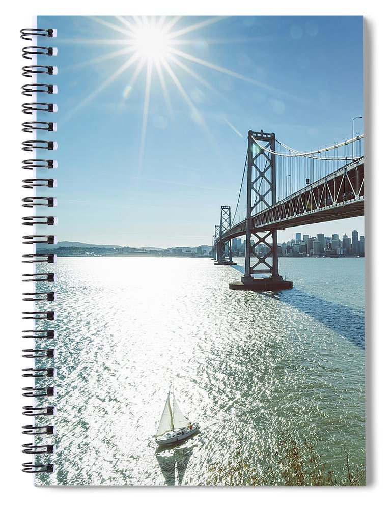 Scenics Spiral Notebook featuring the photograph Yacht Through Bay Bridge by Chinaface