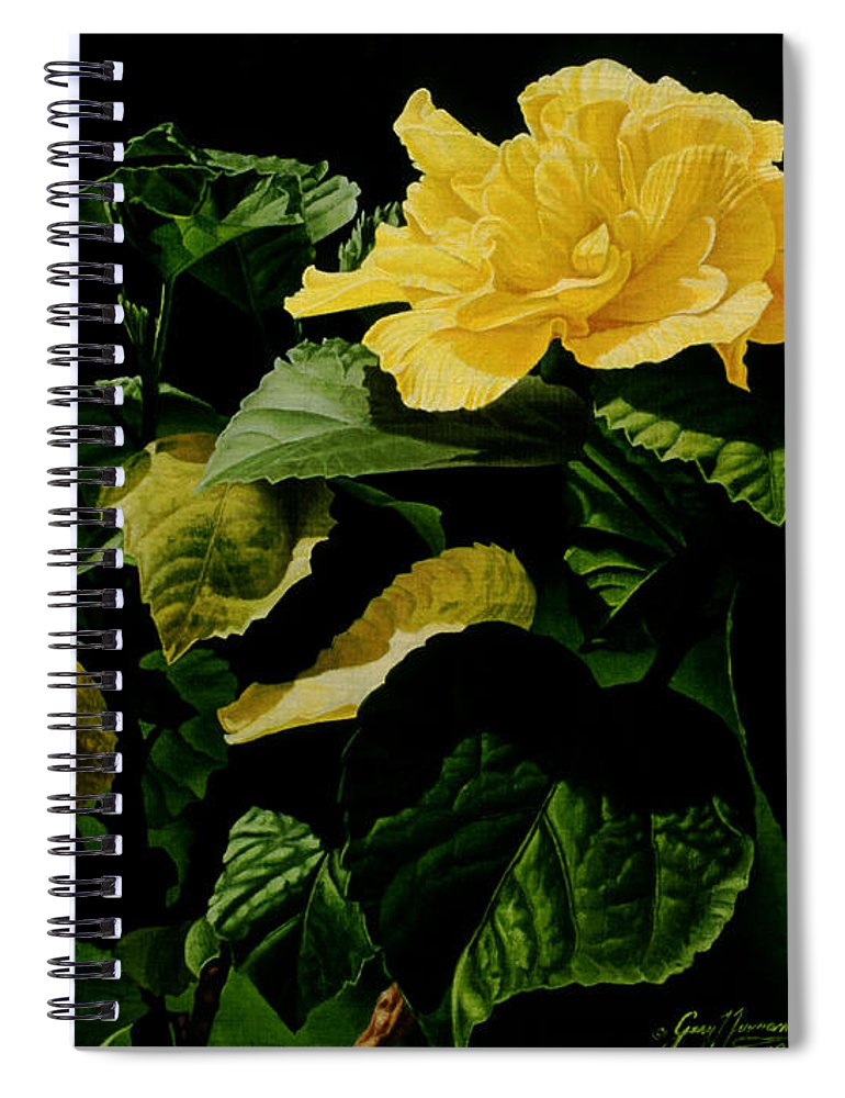 Floral Spiral Notebook featuring the painting Yellow Hibiscus by Gary Hernandez