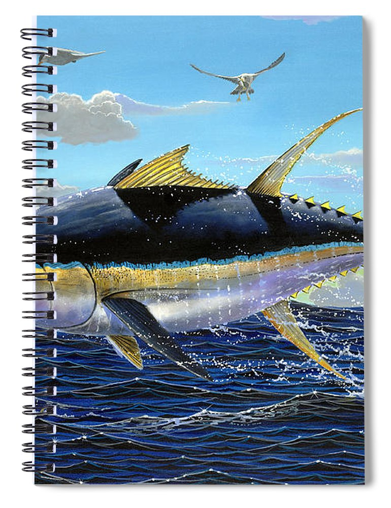 Tuna Spiral Notebook featuring the painting Yellowfin Crash Off0081 by Carey Chen