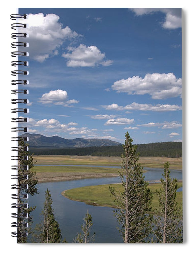 River Spiral Notebook featuring the photograph Yellowstone River Through the Hayden Valley by Frank Madia